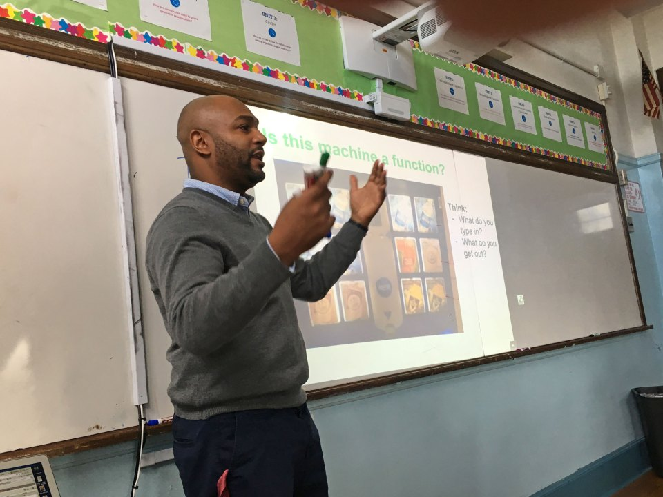 Michael Gallin is a math teacher at Kappa International High School in the Bronx. Here, he works on a challenging problem with his students, hoping to alleviate some of their anxiety over math.