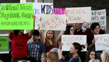Fort Lauderdale, FL — In the wake of the massacre at Marjory Stoneman Douglas High School, protesters attend a Feb. 17, 2018 rally at the Federal Courthouse here to demand government action on firearms.