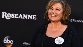 """Roseanne Barr arrives at the Los Angeles premiere of """"Roseanne"""" on Friday, March 23, 2018 in Burbank, Calif."""