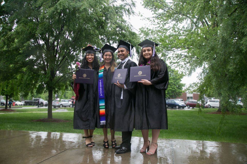 DACA students Vanessa Delgado, Maria Campos, Jacob Maldonado and Karla Arambula after graduating from Trevecca Nazarene University in Nashville, Tenn.