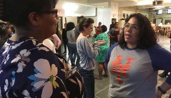 Two educators discuss how and when race, or racism, showed up in their classrooms at the Border Crossers training.