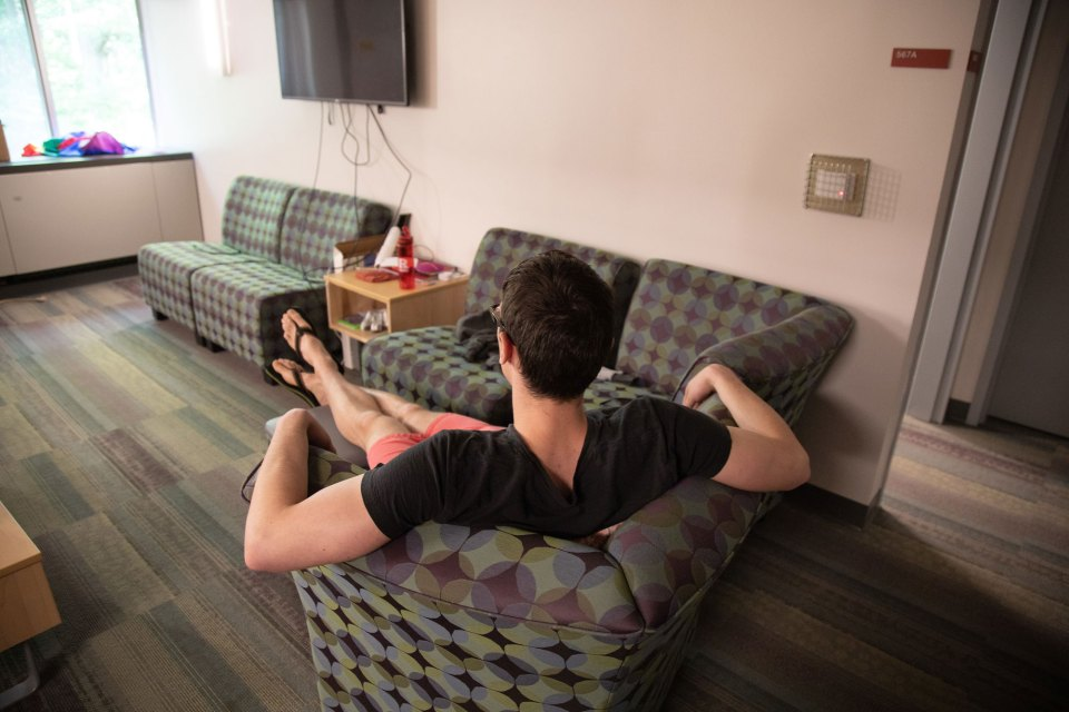 A resident in his room at the Rutgers Recovery House, home to 25 students recovering from drug and alcohol addiction. More and more colleges are opening up facilities like this one.