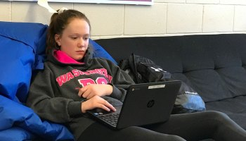 Northern Cass student Katelyn Stavenes taking part in the Jaguar Academy pilot, a piece of the district's plan to eliminate grade levels by the fall of 2020.