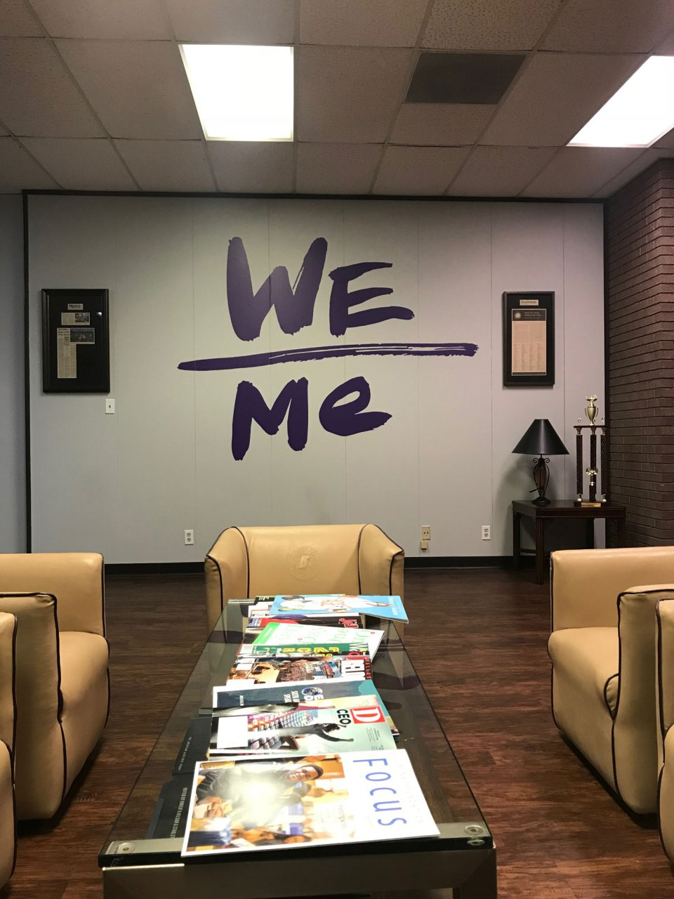 The Paul Quinn College mantra – We over me – is painted at various places around campus.
