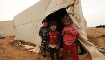 MAFRAQ (JORDAN), April 26, 2018 — Syrian refugee children at a settlement near the Jordan-Syria border.