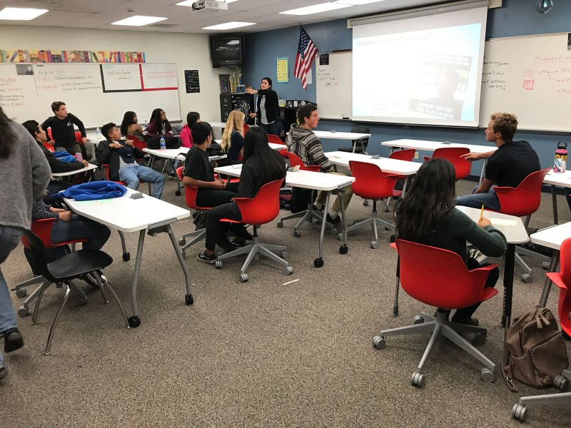 Teacher Catherine Connelly leads a lesson on giving compliments in Vista's pioneering new class on social and emotional wellness. Connelly loved the curriculum, but not the rolling furniture.