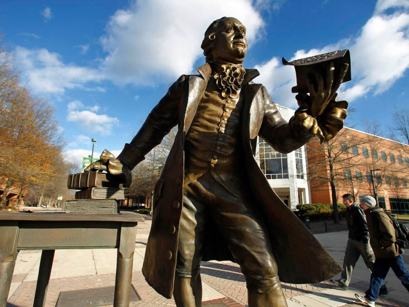 A statue of George Mason on George Mason University's Fairfax campus in Fairfax, Virginia. The university offers digital badges rather than degrees or certificates for the completion of some courses.