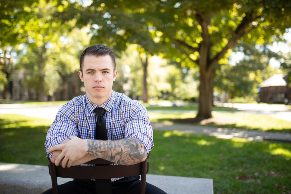 Sam Fendler, a sophomore at Princeton, served four years in the Marine Corps infantry. A tattoo that runs the length of his left arm includes several references to his military service.