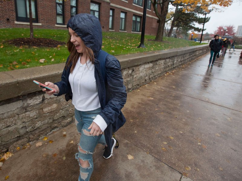 """As a student from a tiny rural hometown, Kendra Beaudoin found unexpected obstacles when she arrived last year at the University of Michigan. She had to use a paper map to find her way around after losing her phone, couldn't figure out the bus system and didn't understand crosswalks. """"Those aren't a thing where I live."""""""