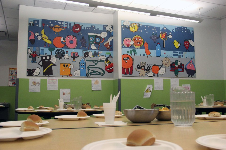 The lunchroom of Mott Haven Academy Charter School, which serves kids in foster care, children whose parents receive preventive services and students who live nearby and apply through a lottery system.