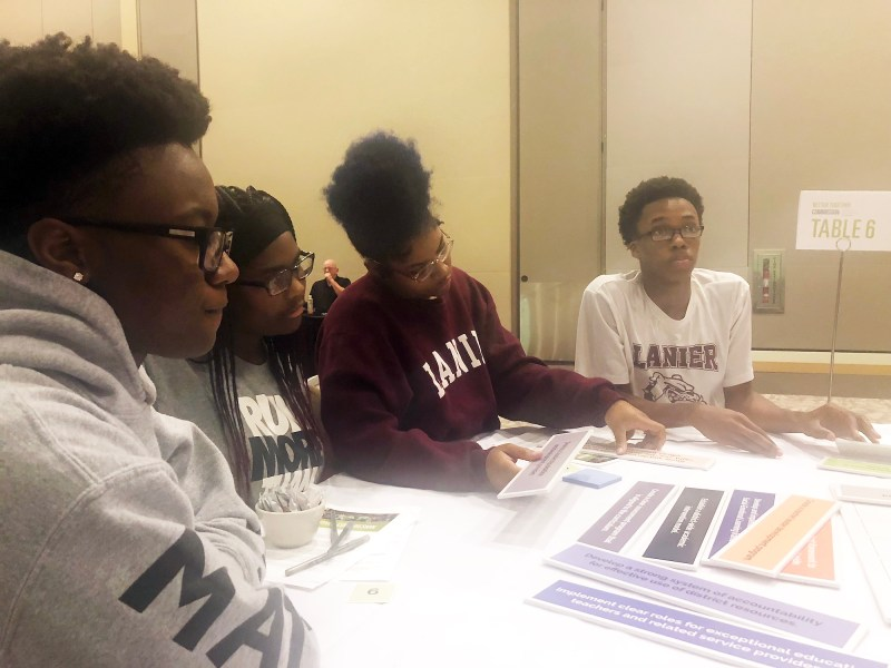 High school students from Jackson Public Schools gather to discuss ways to improve district schools at Jackson Convention Complex in Mississippi last week.
