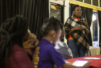 Adrienne Hudson speaks to fellow educators during the RISE Teacher's Night Out at the Crossroads Cultural Arts Center in Clarksdale, Mississippi last December.