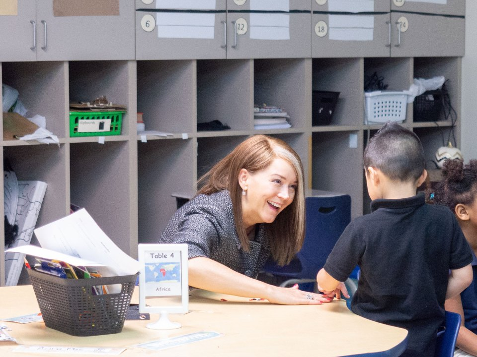Tulsa Public Schools Superintendent Deborah Gist visits a first-grade class at Penn Elementary School.