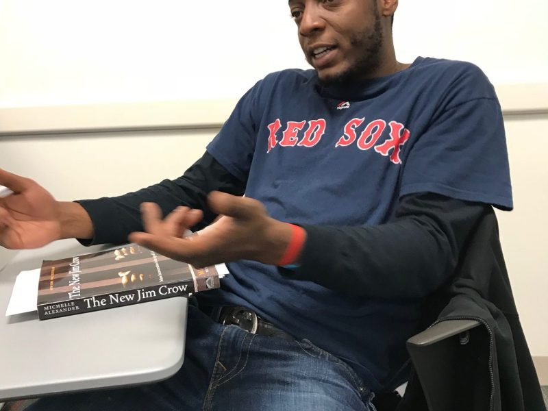 Matthew Johnson speaks in his writing class.