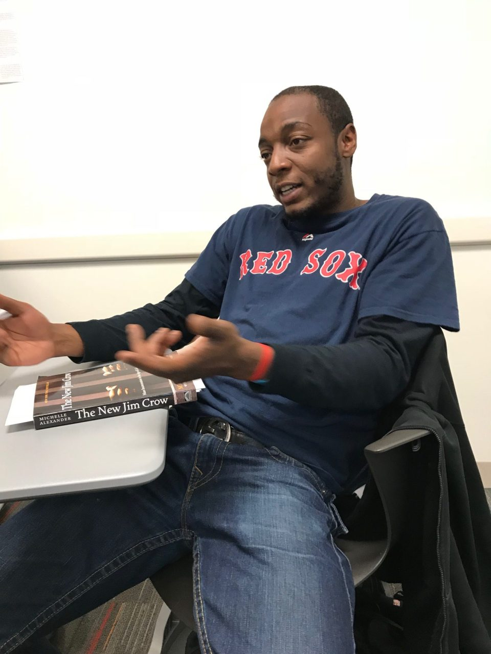 Matthew Jackson speaks in his writing class.