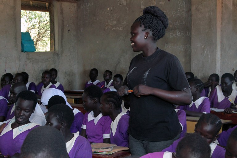 Jessica Deng, 21, teaches a math class at Bahr El Naam Primary School, an all-girls school in Kakuma Refugee camp. Deng, a refugee herself, says she serves as a role model for her female students.