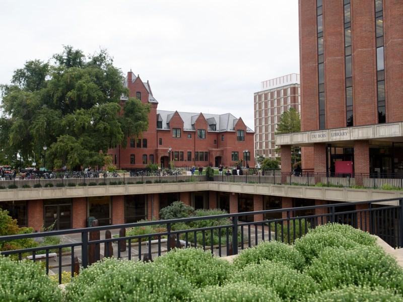 Landscape shot of the University of Massachusetts' DuBois Library.