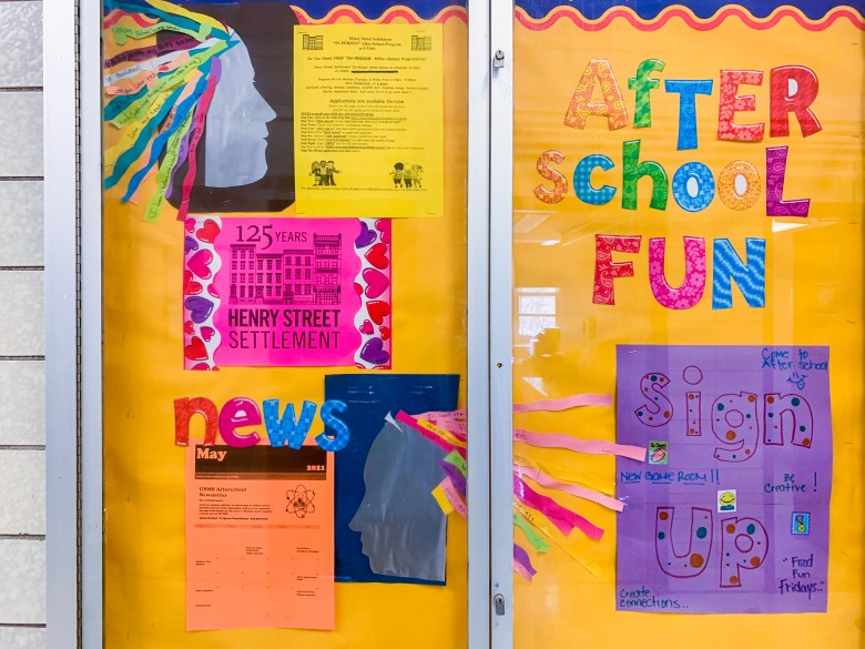 Posters advertise after-school and summer school programs in partnership with the community-based organization Henry Street Settlement.