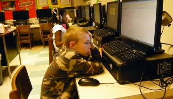 A student at Townsend Elementary in the Appoquinimink school district in Delaware taking a computer-based test. (Photo by Sarah Garland)