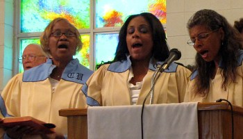 The Canton United Methodist choir sings a hymn at Mt. Zion Baptist Church in Philadelphia Miss. as part of a memorial service for civil rights workers slain in the town 50 years ago. (Photo: Kayleigh Skinner)
