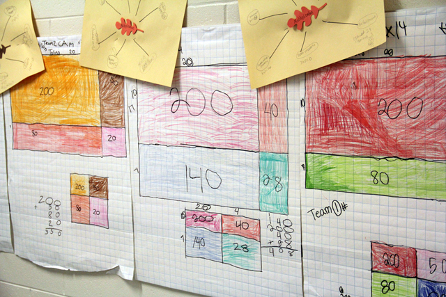 "Student work in the hallway of Eastside Elementary shows the ""partial product"" method of solving a multiplication problem, one of many methods students have learned with Common Core. Many teachers say the new standards go deeper than the old standards and should not be dropped. (Photo: Jackie Mader)"