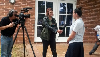 A student is interviewed by a film crew about her experience with Bridges to Higher Education, a federally funded program in New South Wales, Australia, that aims to recruit more first-generation students to college. (Photo: Sarah Butrymowicz)