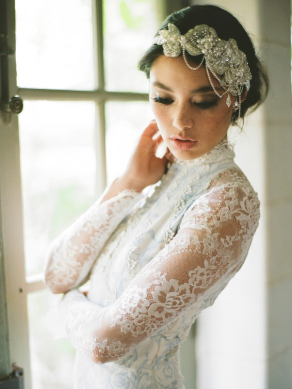 10 tipos de tocados de novia hechizo de boda - Diademas de encaje ...