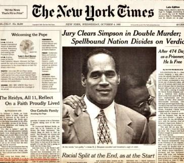 OJ Trial Not Guilty NY Times headline 1995