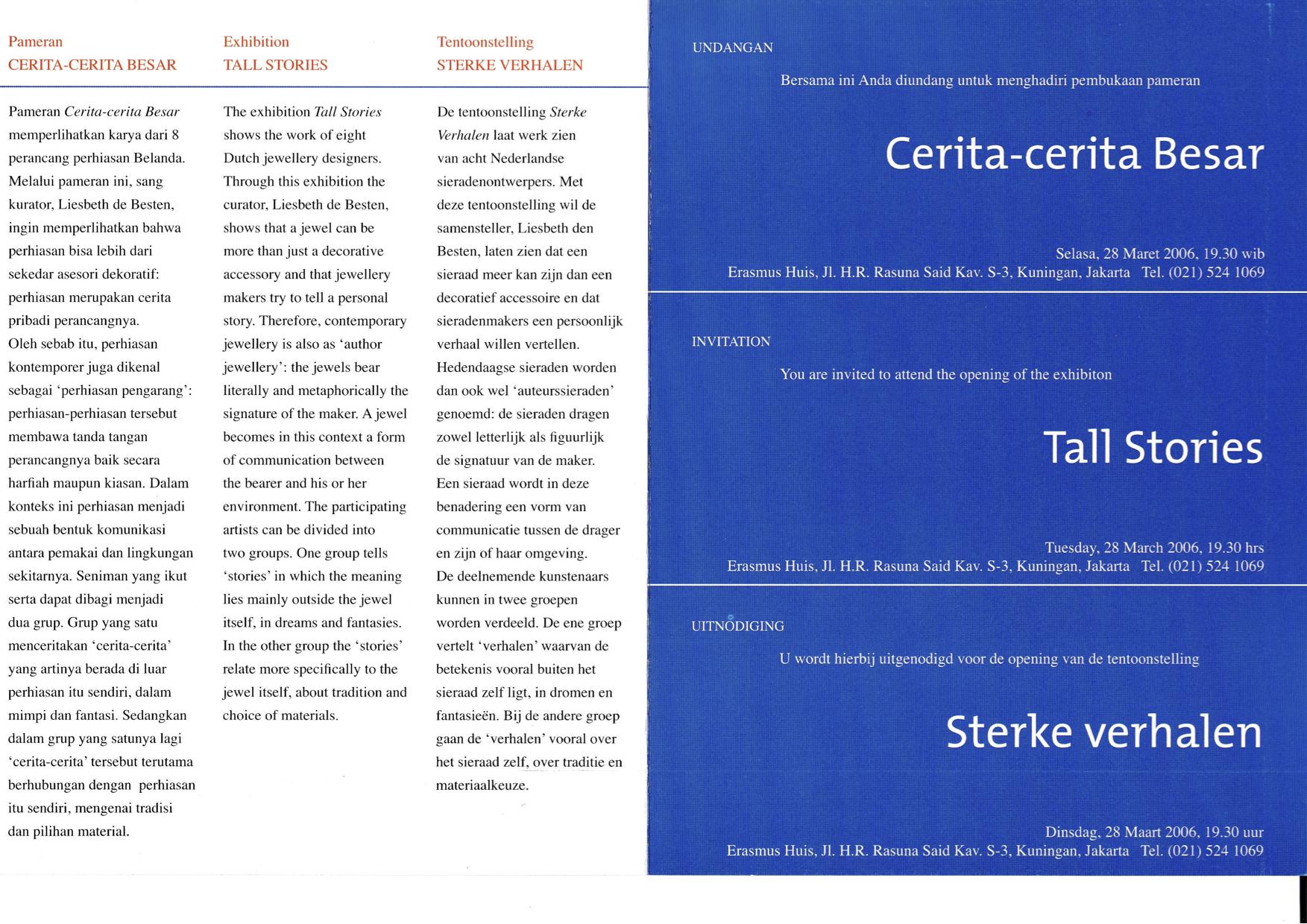 Sterke Verhalen, hedendaagse verhalende sieraden uit Nederland, Stedelijk Museum 's-Hertogenbosch, 2006, tekst