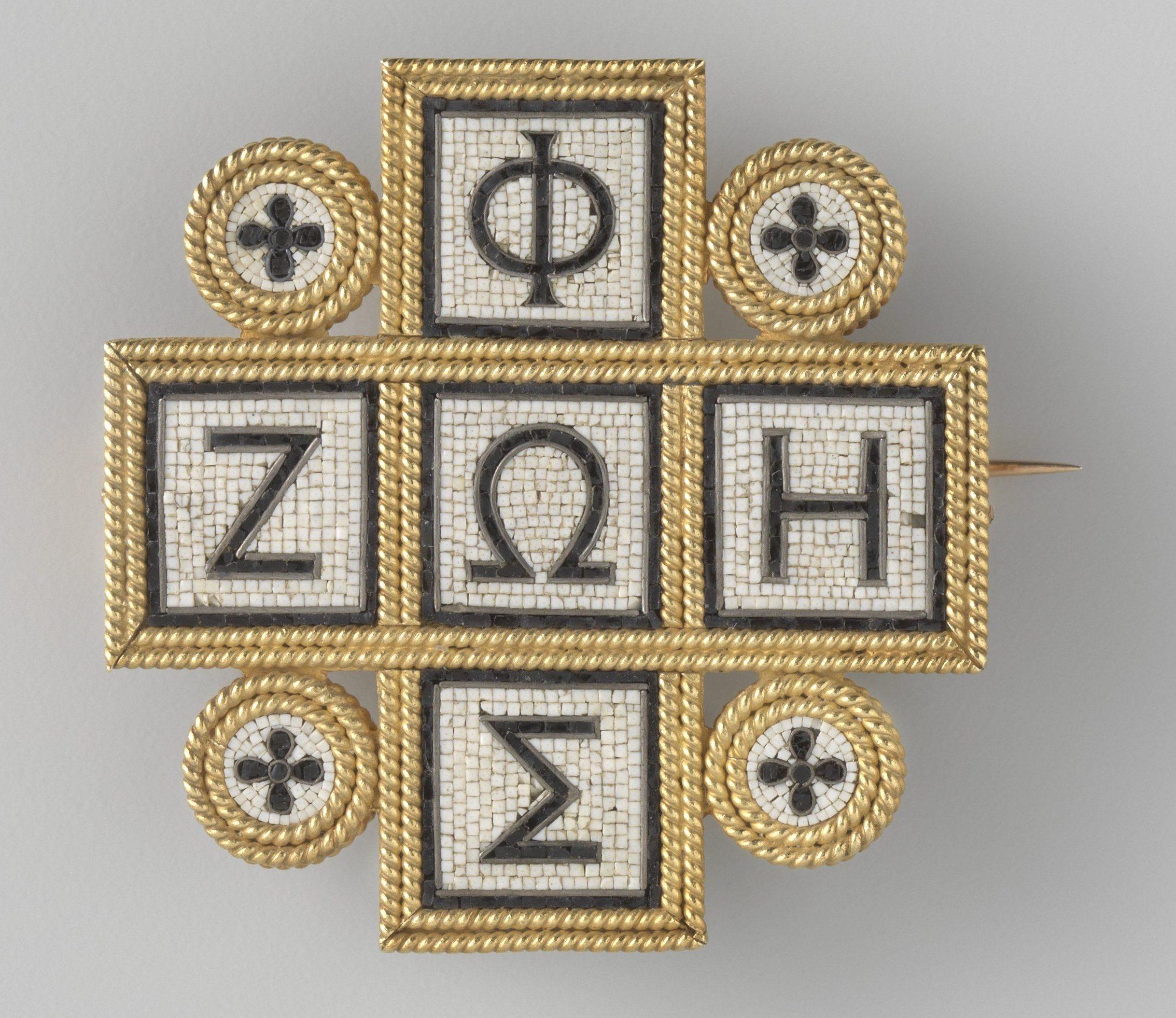 Alessandro Castellani, broche, circa 1870. Collectie Rijksmuseum, BK-1978-417, goud, micro mozaïek, stenen