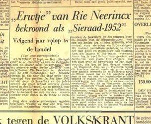 Riet Neerincx' werk bekroond, Volkskrant, 26 september 1951, krant, papier, drukwerk