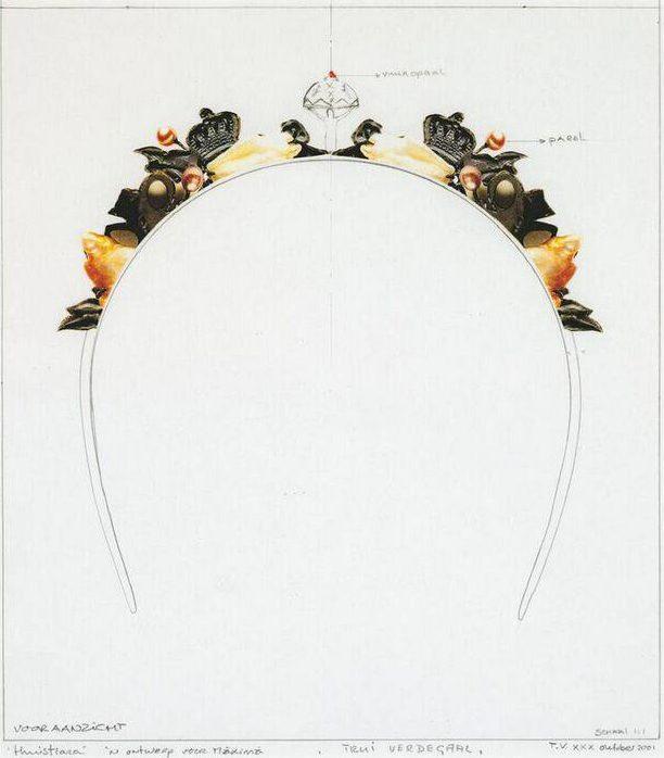 Truike Verdegaal, Ontwerp voor diadeem, collage, 2001, tekening