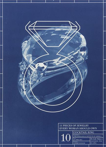 Liesbet Bussche, Blueprint of an Entire Jewelry Collection in 11 Pieces, 10, 2014, drukwerk, papier