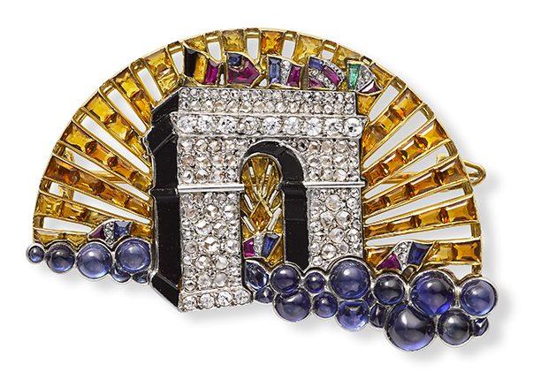 Cartier, Arc de Triomphe, broche, 1919, goud, cabochon geslepen stenen