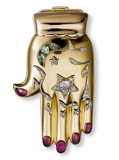 Cartier, Hand van Fatima, broche, 1940, goud, stenen