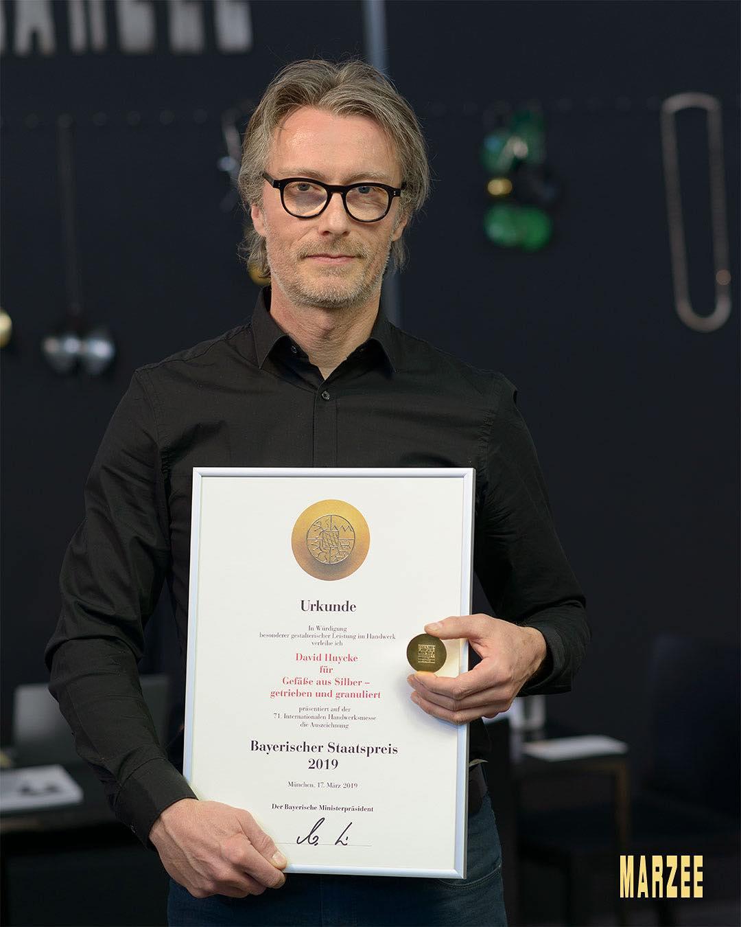 David Huycke wint de Bayerischer Staatspreis, maart 2019. Foto met dank aan Galerie Marzee©