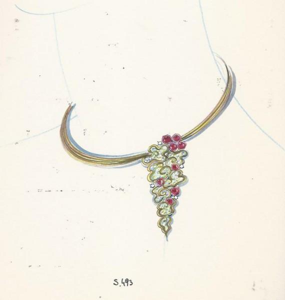 Chaumet, ontwerptekening halssieraad, 1980-1990. Foto met dank aan Grafische Sammlung Stern©