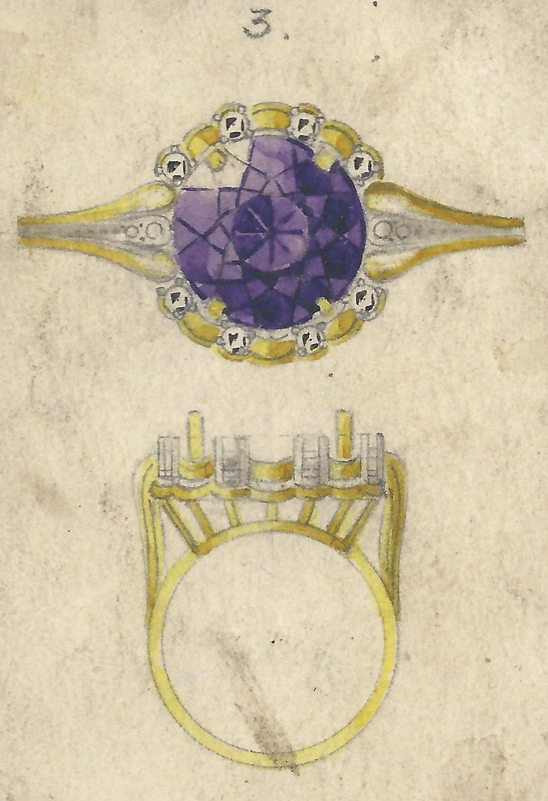 Fritz Eberle, ontwerptekening ring, 1940-1960. Foto met dank aan Grafische Sammlung Stern©