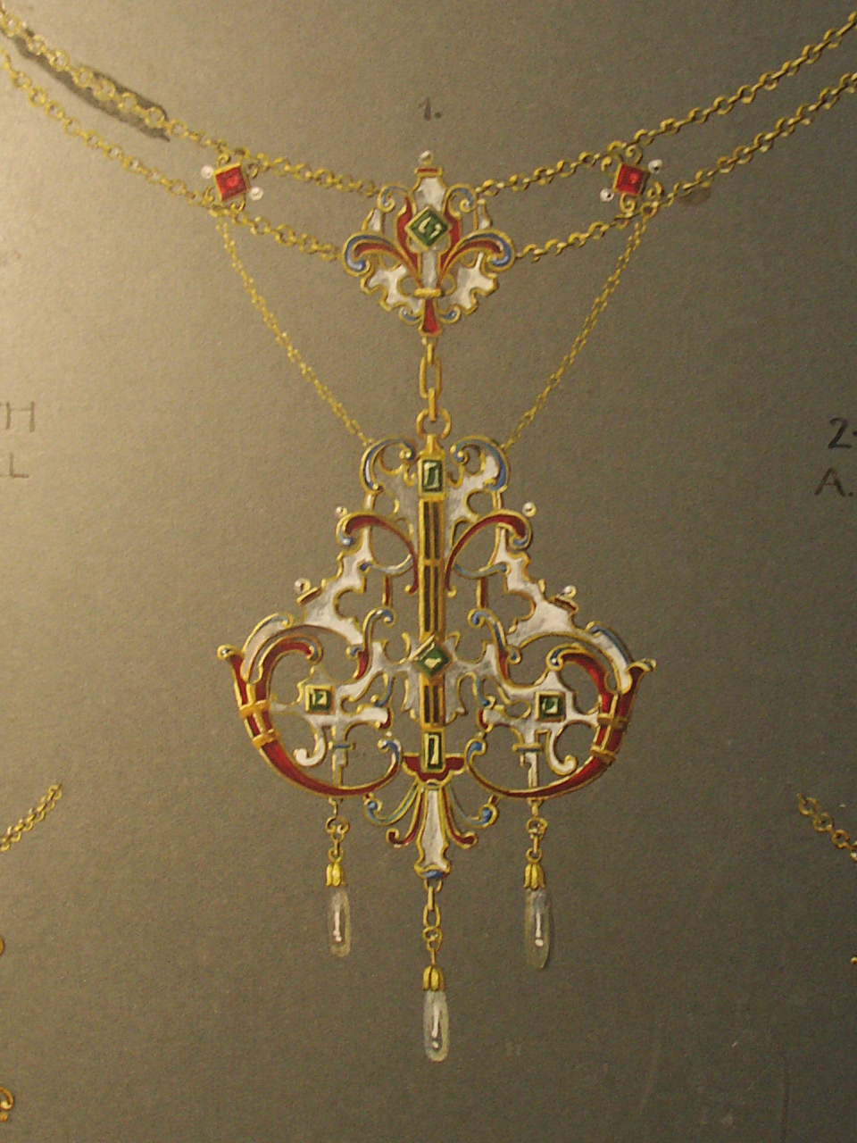 Erna Hirsch, ontwerptekening hanger, 1880-1930. Foto met dank aan Grafische Sammlung Stern©