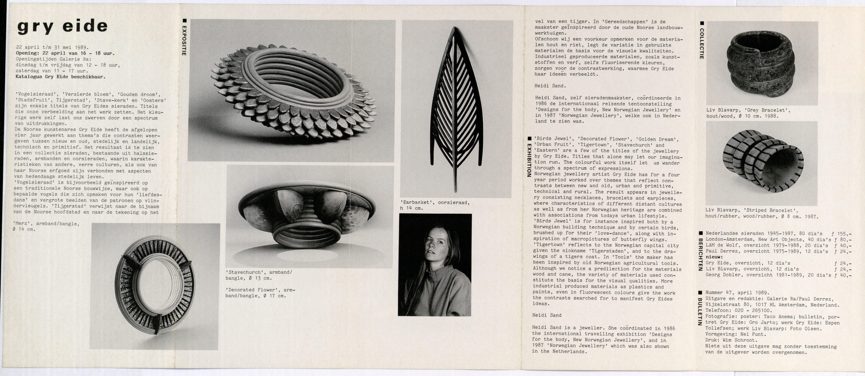 Ra Bulletin 47, april 1989, achterzijde met foto's en tekst van Gro Jarto, Espen Tollefsen en Olsen, papier, drukwerk, Gry Eide, Liv Blåvarp, armbanden, oorsieraad, hout, rubber