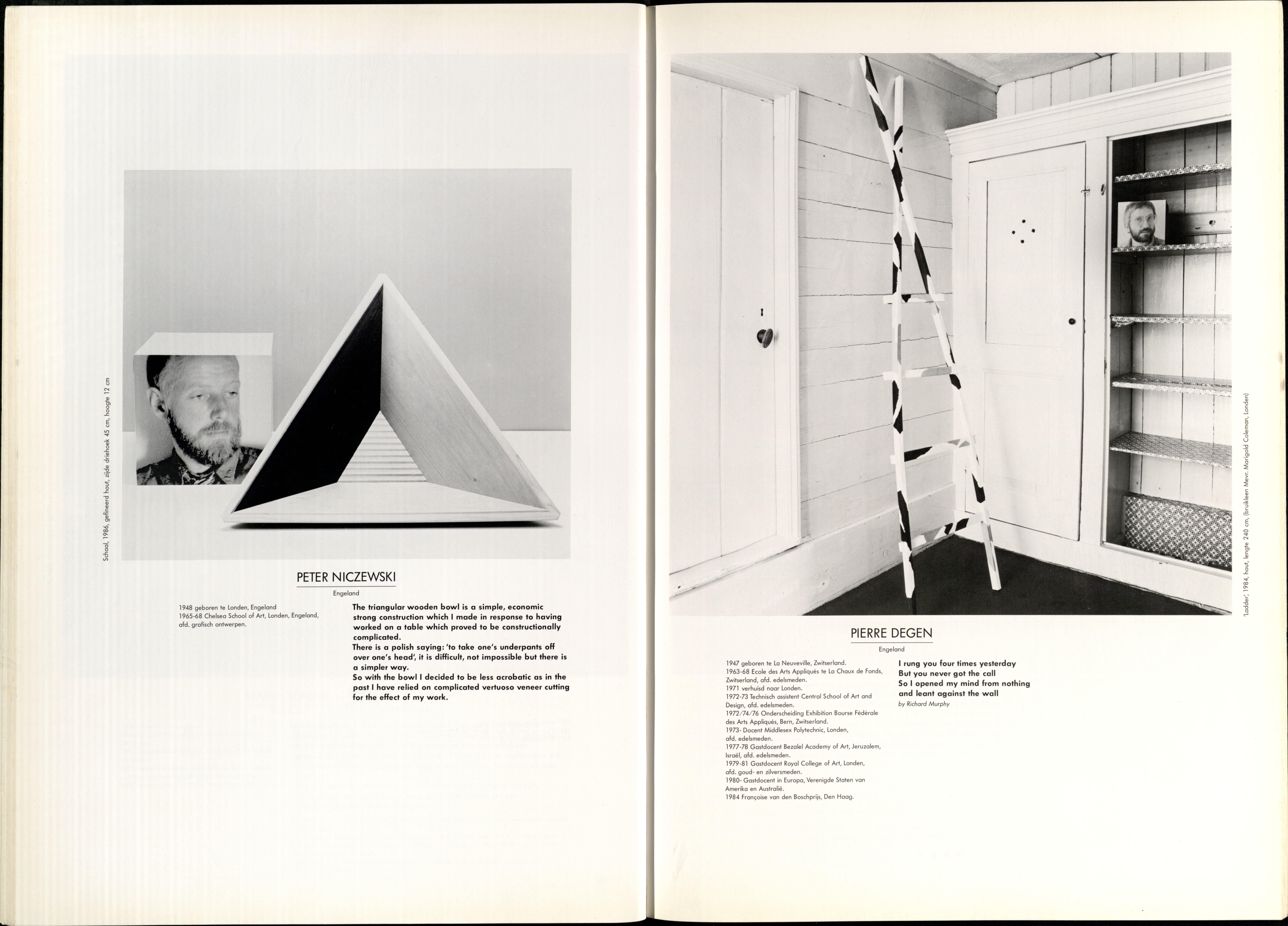 10 Jaar Ra, bladzijde 32 en 33, Peter Niczewski en Pierre Degen, 1986, foto's Anna Beeke, portret, drukwerk, papier,