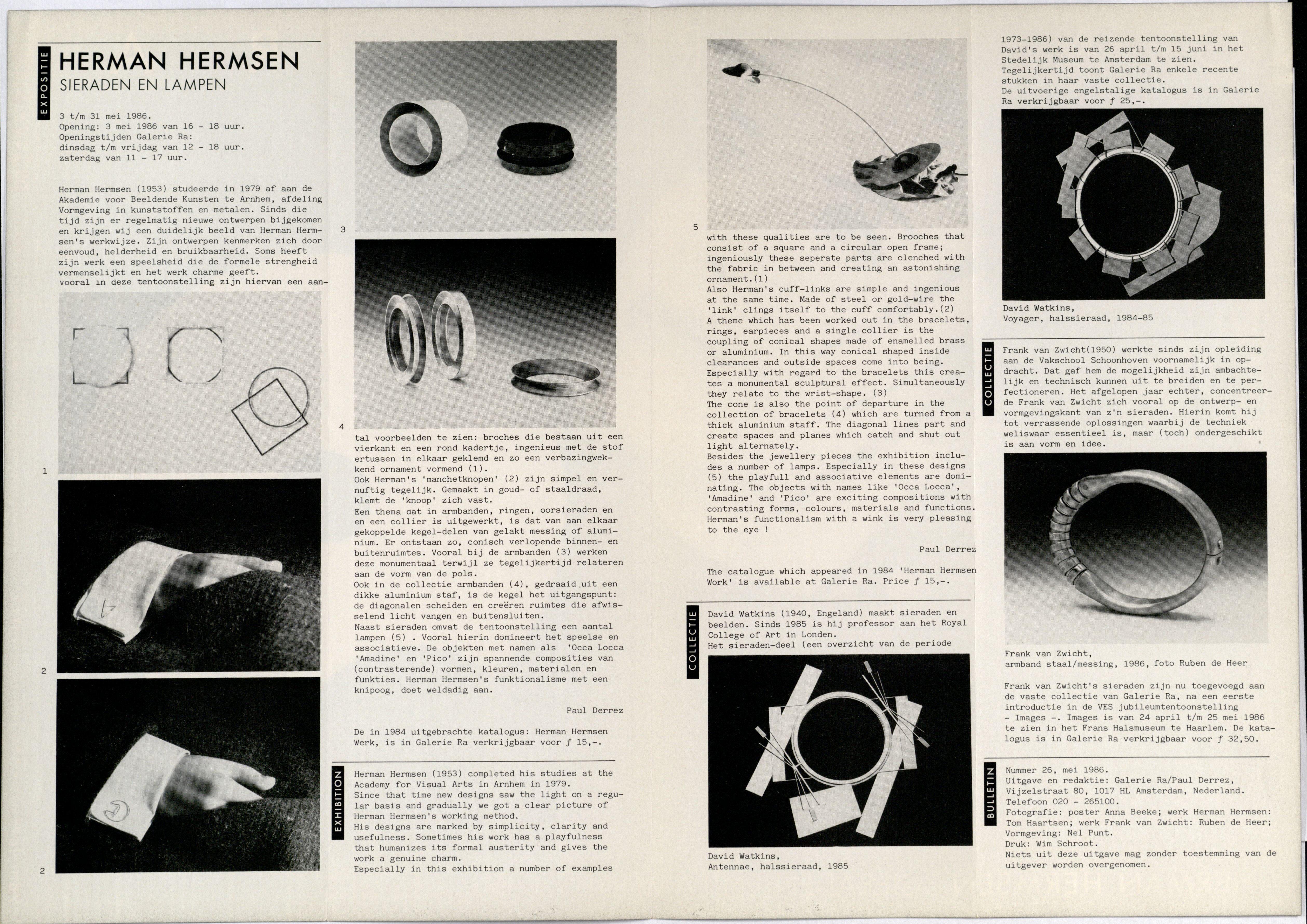 Ra Bulletin 26, mei 1986, achterzijde met tekst en foto's van Tom Haartsen en Ruben de Heer, drukwerk, papier, metaal, David Watkins, Frank van Zwicht, metaal, staal, messing, halssieraden, armbanden, manchetknopen