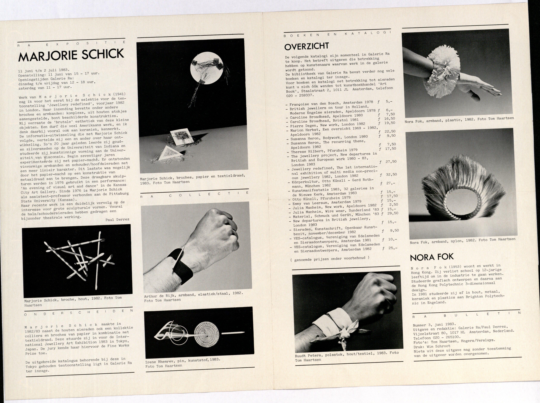 Ra Bulletin 3, juni 1983, achterzijde met tekst en foto's van Tom Haartsen, Marjorie Schick, Nora Fok, drukwerk, papier