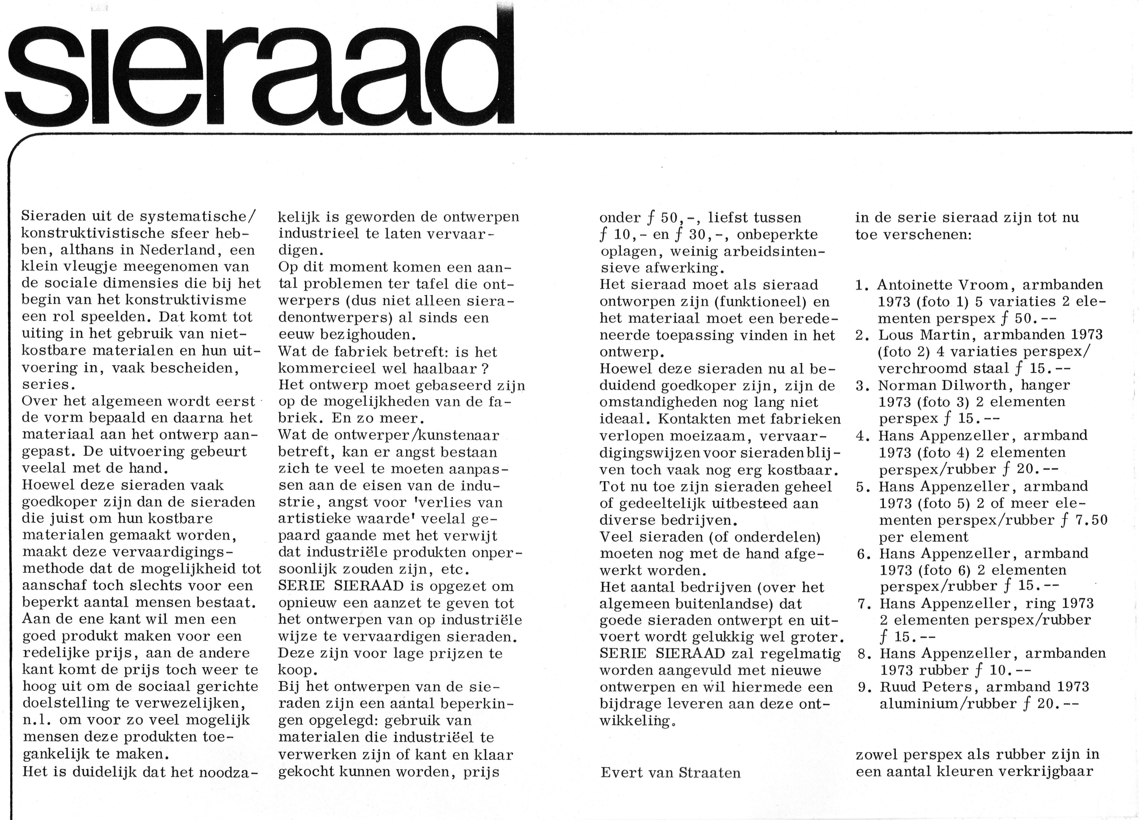 Uitnodiging Serie Sieraad, 1973, Galerie Sieraad, drukwerk, papier