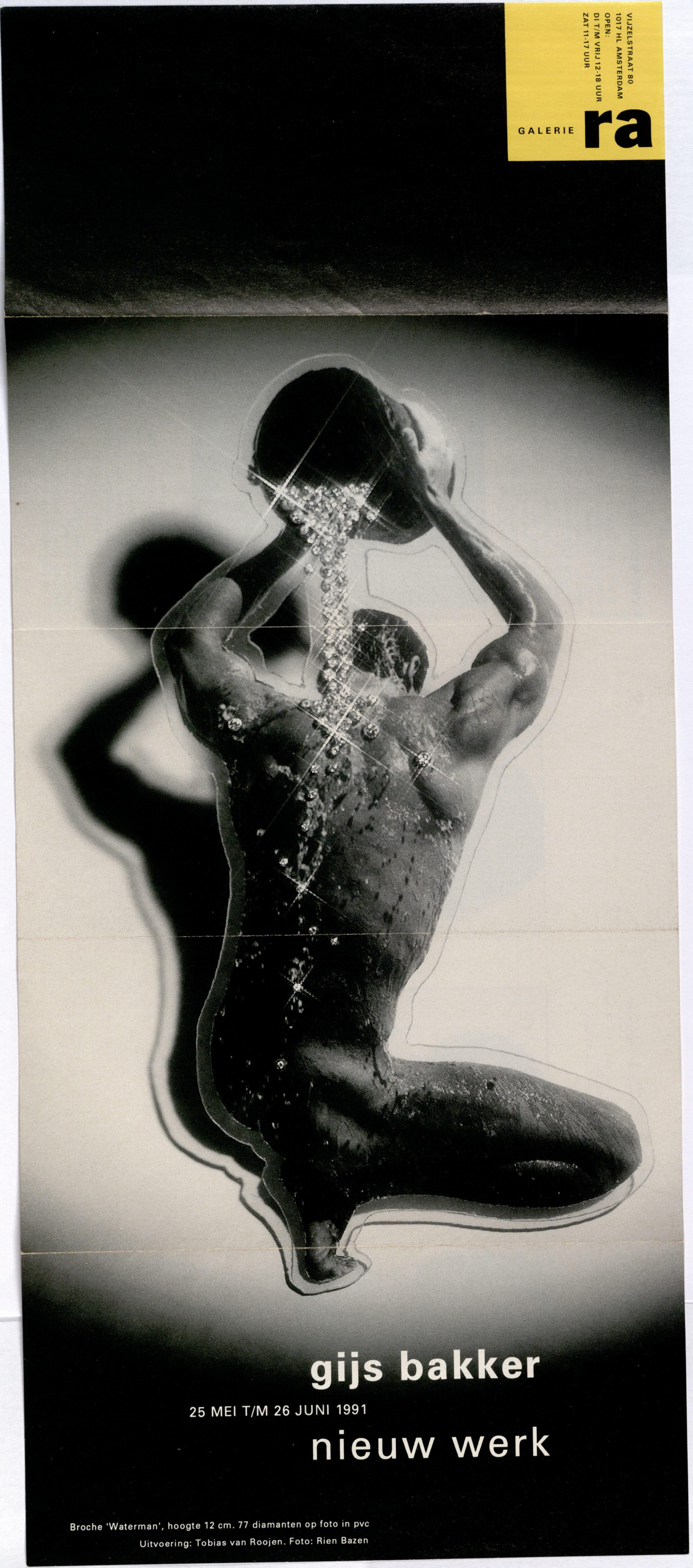 Ra Bulletin 62, mei/juni 1991, voorzijde met foto van Rien Bazen met broche van Gijs Bakker, drukwerk, papier, gelamineerd papier, pvc, diamanten