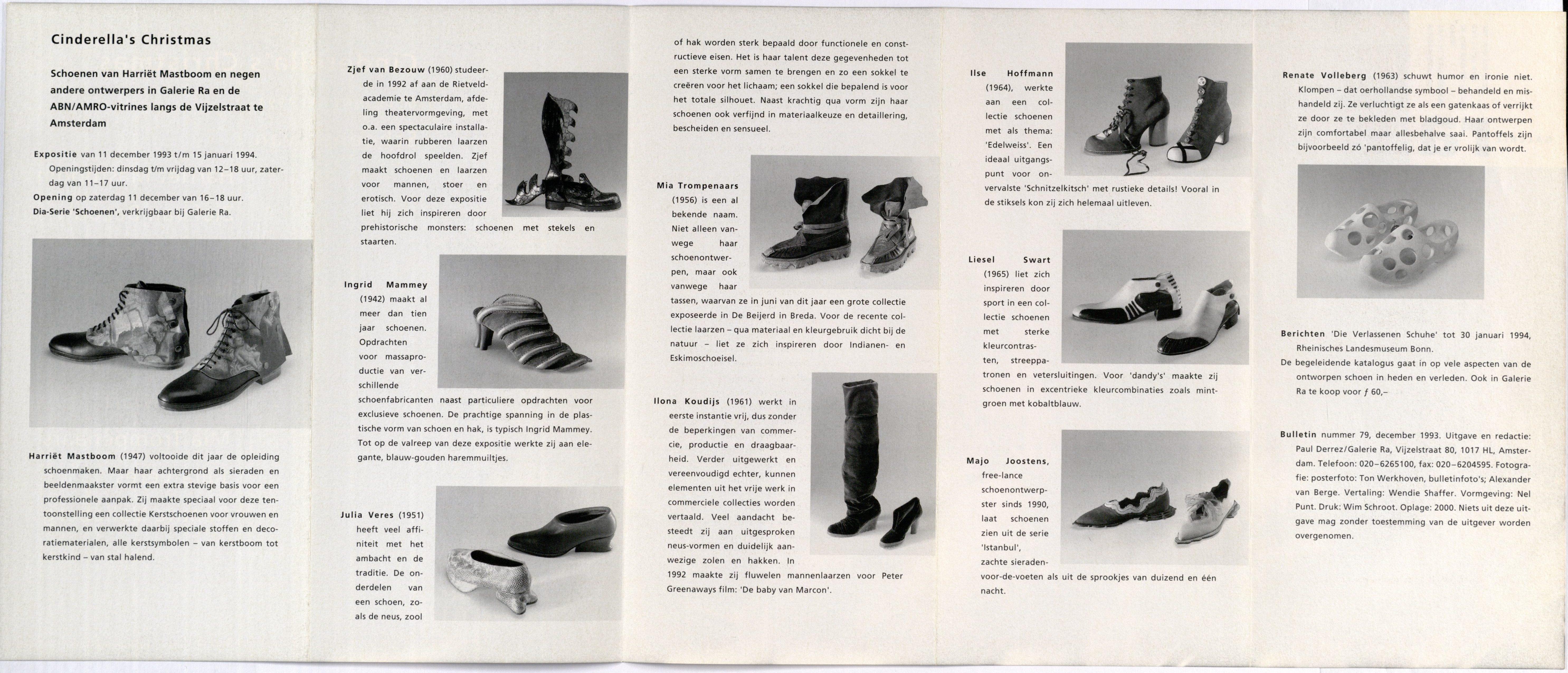 Ra Bulletin 79, december 1993, achterzijde met tekst en foto's van Alexander van Berge, drukwerk, papier, schoenen, leer, textiel, Harriët Mastboom