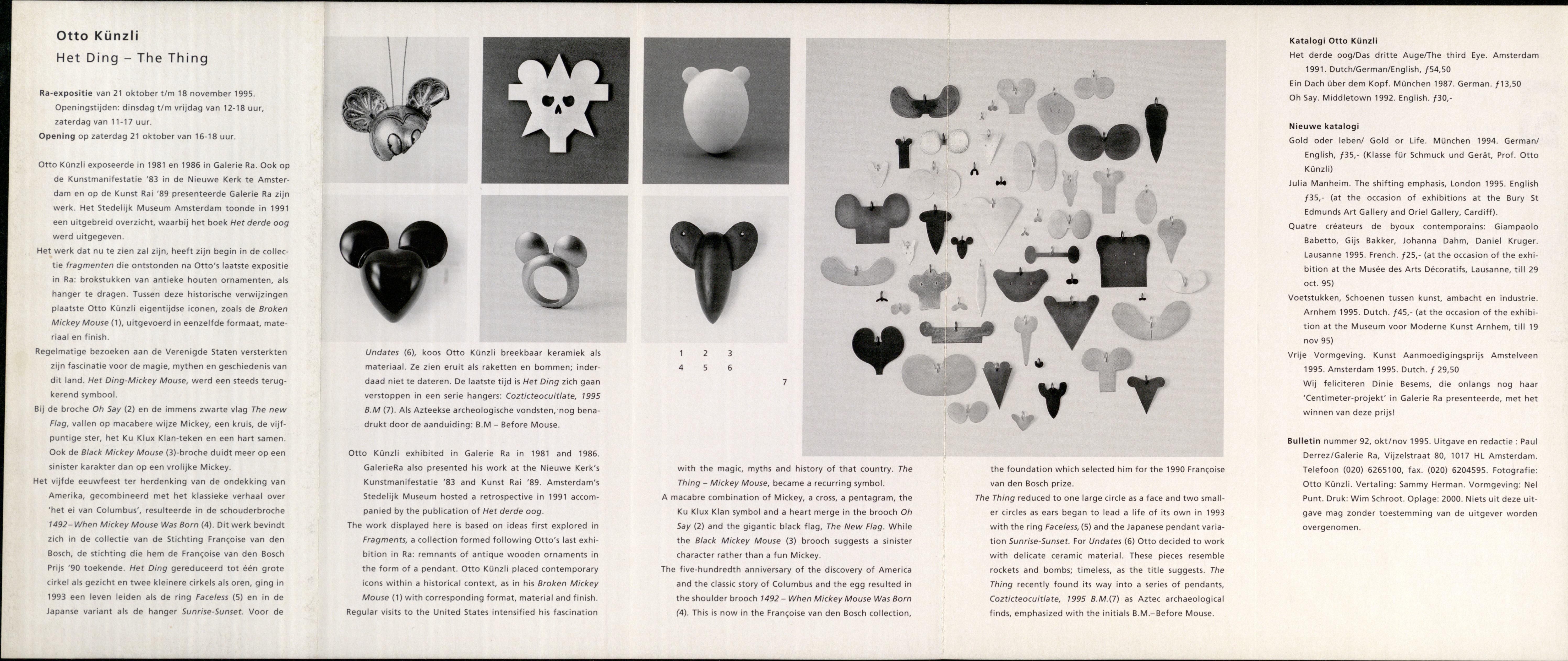 Ra Bulletin 92, oktober/november 1995, achterzijde met tekst en foto's van Otto Künzli, drukwerk, papier, metaal, hangers, ringen, broches, keramiek