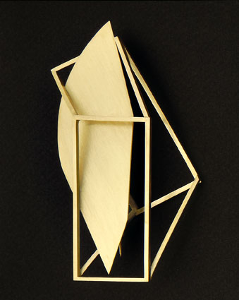 Alberto Zorzi, Structura, broche, 1996, goud
