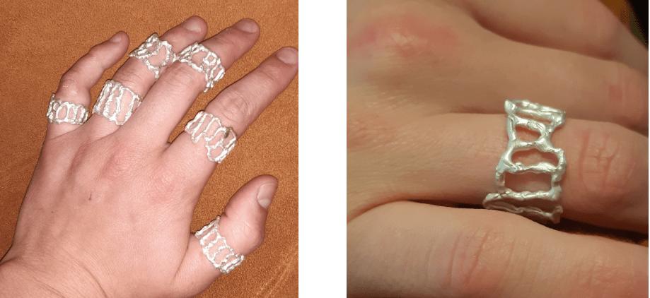 Marguerite Bones, ringen, metaal