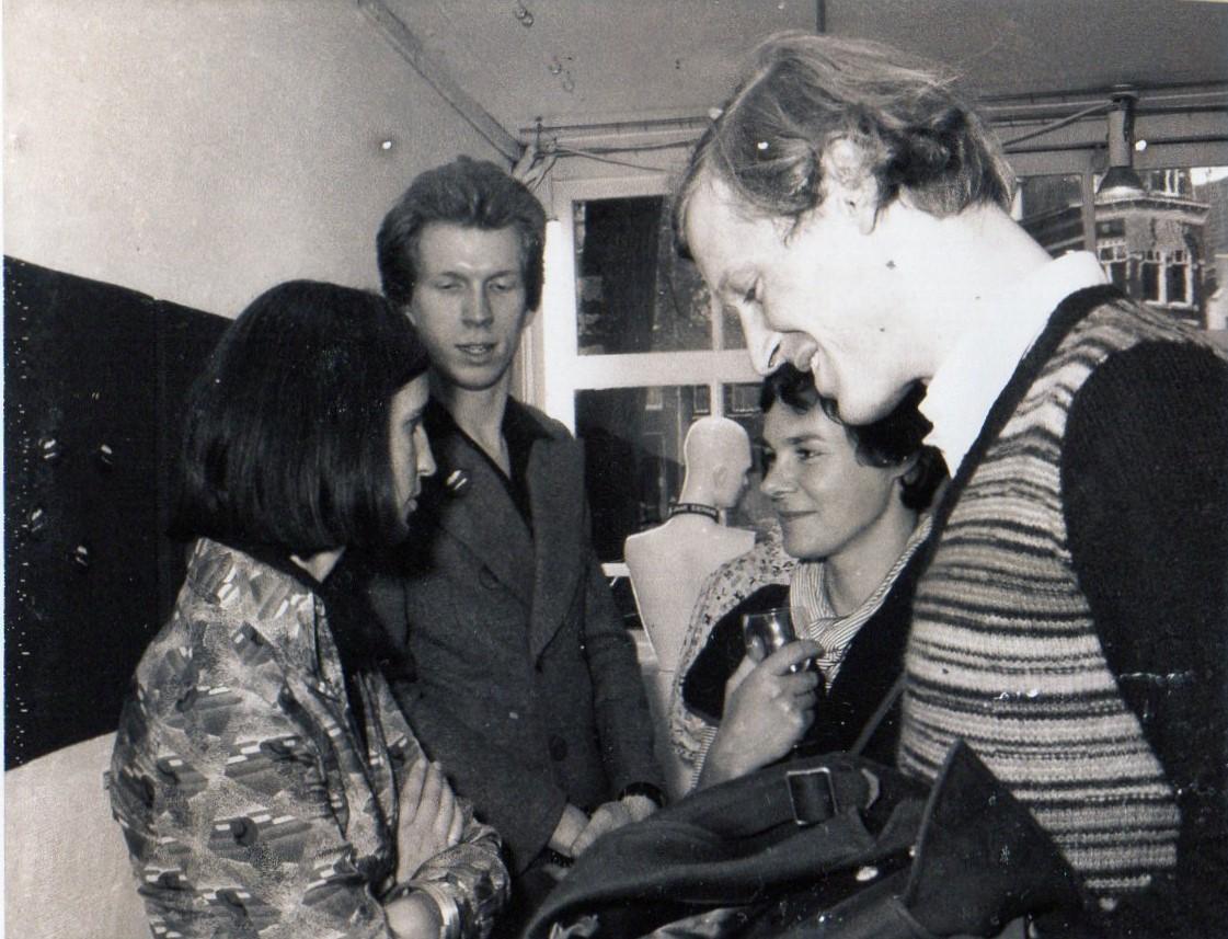 5 Jarig jubileum Galerie Sierraad, 1974: Hester Wolters, Hans Appenzeller, Wiesje Smals en Bruno Ninaber van Eyben, portret